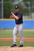 New York Yankees pitcher Ty Hensley (17) gets ready to deliver a pitch during a minor league spring training game against the Toronto Blue Jays on March 24, 2015 at Englebert Minor League Complex in Dunedin, Florida.  (Mike Janes/Four Seam Images)