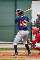 GCL Braves first baseman Griffin Benson (80) at bat during a game against the GCL Phillies on August 3, 2016 at the Carpenter Complex in Clearwater, Florida.  GCL Phillies defeated GCL Braves 4-3 in a rain shortened six inning game.  (Mike Janes/Four Seam Images)