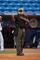 Umpire Dexter Kelley calls a strike during a Florida State League game between the Florida Fire Frogs and St. Lucie Mets on April 12, 2019 at First Data Field in St. Lucie, Florida.  Florida defeated St. Lucie 10-7.  (Mike Janes/Four Seam Images)