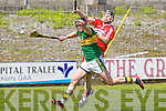 Kerry's Rory Horgan and Derry's Paul Cleary go for the ball in the Christy Ring Cup at Austin Stack park, Tralee on Saturday.