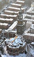 St. Michaelis : EUROPA, DEUTSCHLAND, HAMBURG 21.12.2009: St. Michaelis  mit Schnee, Europa, Deutschland, Hamburg, Luftbild, Luftansicht, Wahrzeichen, Reise, reisen, Turm, Turmspitze, Kirche, Kirchen, Kirchturm, Kirchturmspitze, St., Michel, Michaelis, Uhr, Kirchenuhr, Turmuhr, Zeit, Spitze, Gebaeude, Winter, Eis, kalt<br />c o p y r i g h t : A U F W I N D - L U F T B I L D E R . de<br />G e r t r u d - B a e u m e r - S t i e g  1 0 2,  <br />2 1 0 3 5  H a m b u r g ,  G e r m a n y<br />P h o n e  + 4 9  (0) 1 7 1 - 6 8 6 6 0 6 9 <br />E m a i l      H w e i 1 @ a o l . c o m<br />w w w . a u f w i n d - l u f t b i l d e r . d e<br />K o n t o : P o s t b a n k    H a m b u r g <br />B l z : 2 0 0 1 0 0 2 0  <br />K o n t o : 5 8 3 6 5 7 2 0 9<br /> V e r o e f f e n t l i c h u n g  n u r    m i t  H o n o r a  n a c h  MFM, N a m e n s n e n n u n g und B e l e g e x e m p l a r !