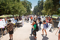 2018 InternLA student participants share their poster presentations about their summer experiences working as interns in Los Angeles. Summer Experience Expo, Sept. 13, 2018 in the Academic Quad. Hosted by Career Services.<br /> (Photo by Marc Campos, Occidental College Photographer)