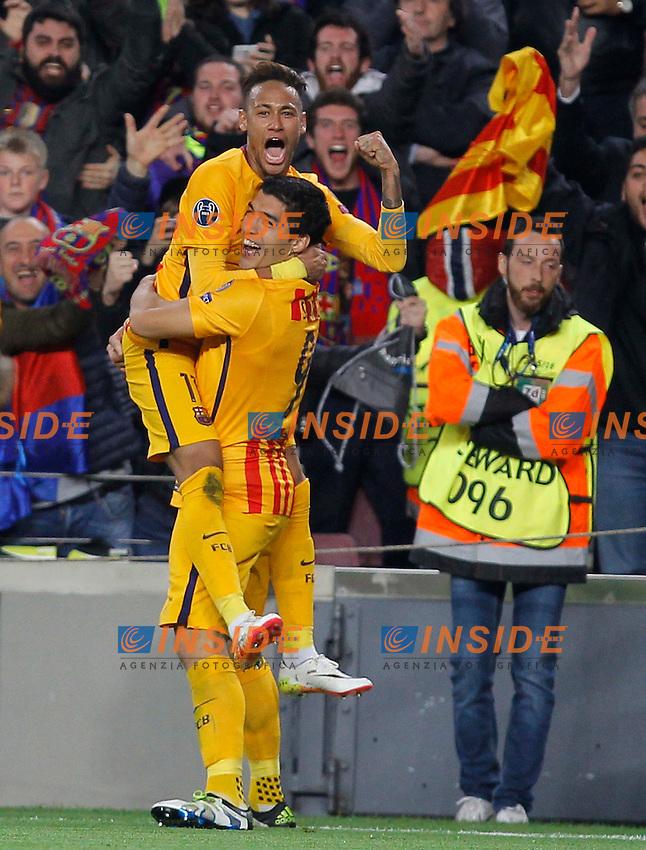 neymar - suarez (barca) - joie <br /> Barcellona 05-04-2016 <br /> Football Calcio 2015/2016 Champions League <br /> Barcellona - Atletico Madrid Quarti di finale<br /> Foto Panoramic / Insidefoto <br /> ITALY ONLY