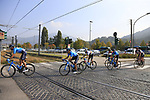 The peloton including World Champion Alejandro Valverde (ESP) Movistar Team negotiate a level crossing at Albino during the 112th edition of Il Lombardia 2018, the final monument of the season running 241km from Bergamo to Como, Lombardy, Italy. 13th October 2018.<br /> Picture: Eoin Clarke | Cyclefile<br /> <br /> <br /> All photos usage must carry mandatory copyright credit (© Cyclefile | Eoin Clarke)