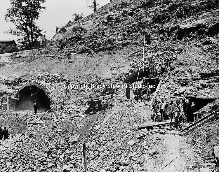 Pittsburgh PA:  Construction of the Liberty Tunnels on the south side of the tunnels near Rt 51 - 1919