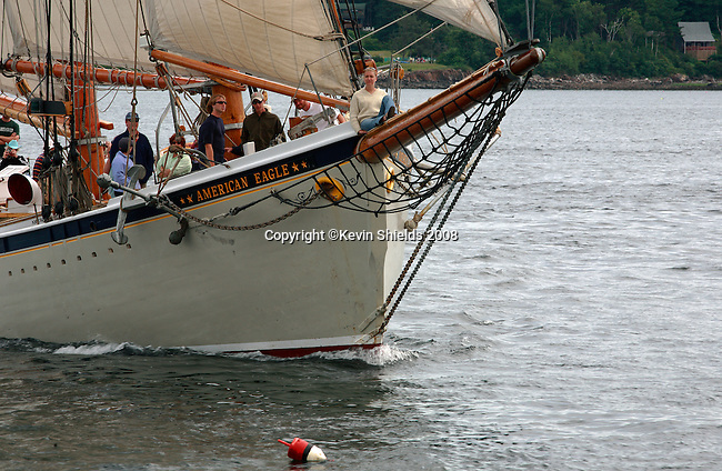 Schooner American Eagle in Rockland Harbor, Rockland, Maine, USA