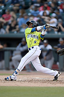 Center fielder Anthony Dirocie (5) of the Columbia Fireflies bats in a game against the Charleston RiverDogs on Saturday, April 6, 2019, at Segra Park in Columbia, South Carolina. Columbia won, 3-2. (Tom Priddy/Four Seam Images)