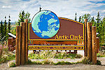 Arctic Circle sign at latitude 66 33 on the Dalton Hwy, Arctic Alaska, Summer.