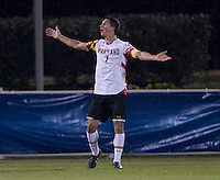 Dan Metzger (7) of Maryland celebrates the game-winning goal during the ACC tournament semifinals at the Maryland SoccerPlex in Boyds, MD.  Maryland defeated Clemson, 1-0, in overtime.