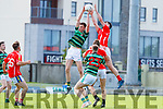 Jack Sherwood East Kerry in action against Jack Barry Saint Brendans in the Kerry Senior Football County Championship Round One between Saint Brendans and East Kerry at Austin Stack Park Tralee.