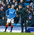 16.03.2019 Rangers v Kilmarnock: Andy Halliday and Steven Gerrard