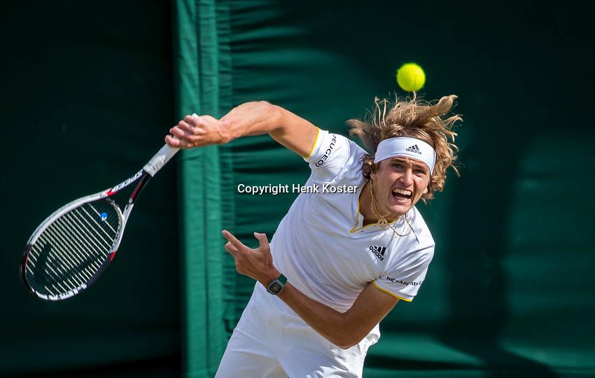 London, England, 10th July 2017. Tennis, Wimbledon. Alexander Zverev (GER). Photo Henk Koster, Tennis Images.