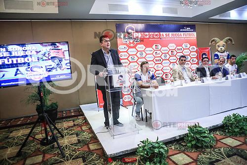 Servando Carbajal de Super del Norte, durante la rueda de prensa de la directiva de Cimarrones de Sonora, previo al inicio del Torneo Clausura 2016 de la Liga de ascenso MX, en Hermosillo, Mexico.