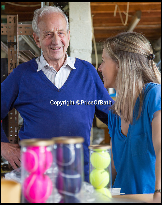 BNPS.co.uk (01202 558833)<br /> Pic: PriceOfBath/BNPS<br /> <br /> Louise with her father Derek, who even adapted his tennis ball technology to make the rubber tiles covering Britains submarine fleet.<br /> <br /> Smashed it - The last tennis ball maker in the Western world is bouncing back...<br /> <br /> Louise Price of tennis ball maker Price of Bath is leading the family business's fight back against far eastern competition than nearly wiped out the company a few decades ago.<br /> <br /> And the company is now doing so well again that it will soon be moving to brand new larger factory in Box in Wiltshire.<br /> <br /> Price of Bath was set up by her grandfather Joseph in the 1930's and after WW2 employed 120 people churning out 84,000 balls a week - nowadays it's the last tennis ball maker in the western world, and produces a much more modest 6000 balls a week from raw rubber from Malaysia to finished product.<br /> <br /> Louise's father Derek, who invented the rubber tiles used on nuclear powered submarines as well as running the family business, still works full time in the dickensian factory at the age of 88.