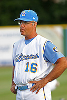 Rick Albert #16 batting coach of the Myrtle Beach Pelicans in the field before a game against the Frederick Keys on May 14, 2010 in Myrtle Beach, SC.