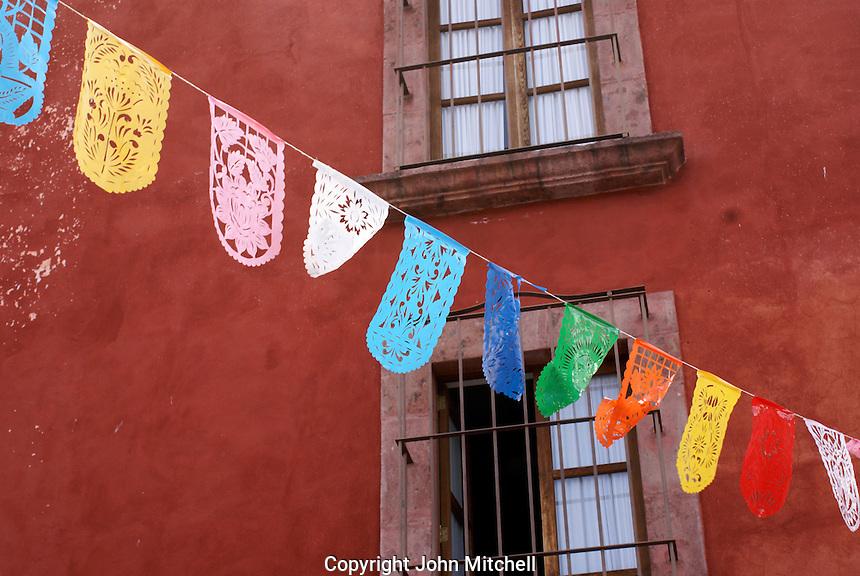 Mexican papel picado decorating a street in San Miguel de Allende, Mexico