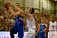 LEEK - Basketbal, Donar - Istanbul BBSK, Europe Cup, seizoen 2018-2019, 17-10-2018,  Donar speler Grant Sitton met Istanbul BBSK speler Yordan Minchev