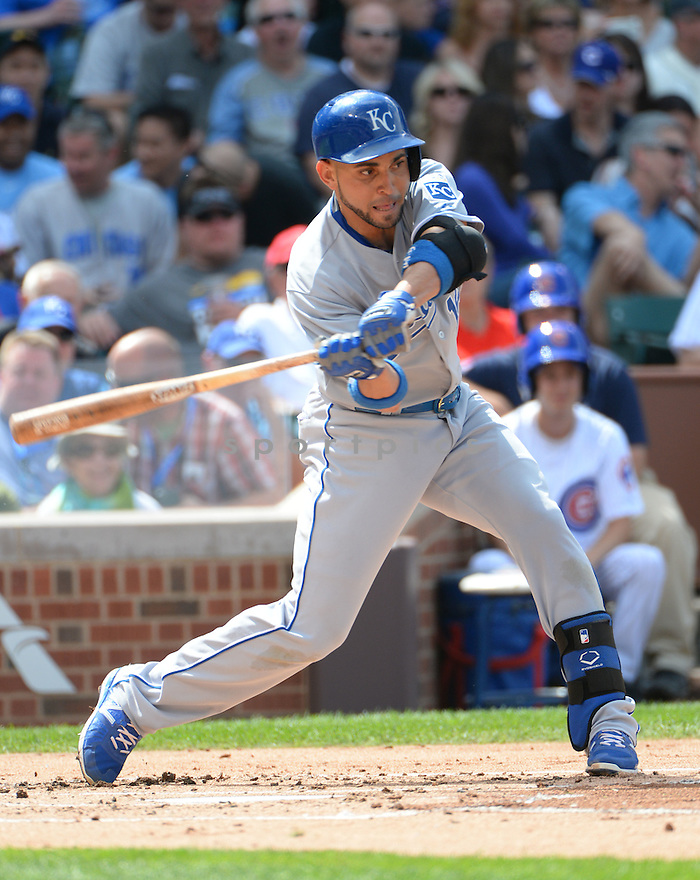 Kansas City Royals Omar Infante (14) during a game against the Chicago Cubs on May 29, 2015 at Wrigley Field in Chicago, IL. The Royals beat the Cubs 8-4.