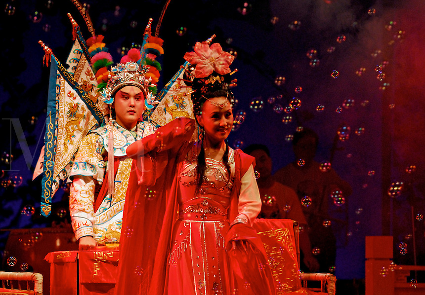 Lu Bu, in a traditional Sichuan Opera story,Three Heroes fighting Lu Bu,  based on the turbulent Three Kingdoms era of Chinese warlord history in the 3rd century.