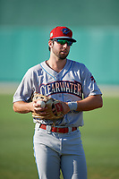 Clearwater Threshers Matt Vierling (28) warms up before a Florida State League game against the Dunedin Blue Jays on May 11, 2019 at Jack Russell Memorial Stadium in Clearwater, Florida.  Clearwater defeated Dunedin 9-3.  (Mike Janes/Four Seam Images)
