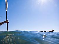 A kayaker on Lake Huron near the Mackinac Straits of Michigan.