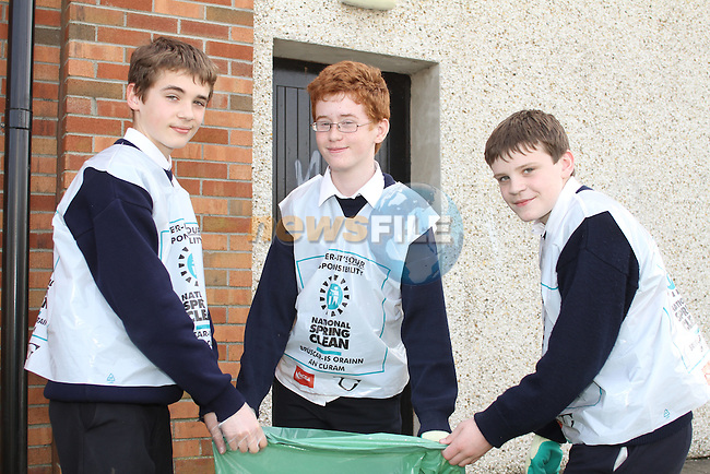 St Mary's students, Jack Latvis, Thomas Caffrey and Harry Coscran taking part in National Spring Clean Week...(Photo credit should read Jenny Matthews www.newsfile.ie)....This Picture has been sent you under the conditions enclosed by:.Newsfile Ltd..The Studio,.Millmount Abbey,.Drogheda,.Co Meath..Ireland..Tel: +353(0)41-9871240.Fax: +353(0)41-9871260.GSM: +353(0)86-2500958.email: pictures@newsfile.ie.www.newsfile.ie.