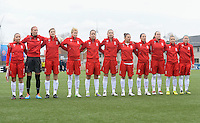 20140208 - OOSTAKKER , BELGIUM : Polish national team pictured Katarzyna Kiedrzynek (1) , Aleksandra Sikora (2) , Natasza Gornicka (3) , Donata Lesnik (6) , Marta Mika (7) , Natalia Chudzik (8) , Patrycja Pozerska (9) , Jolanta Siwinska (14) , Agnieszka Winczo (15) , Weronika Aszkielowicz (16) and Natalia Pakulska (17) during a friendly soccer match between the women teams of Belgium and Poland , Saturday 8 February 2014 in Oostakker. PHOTO DAVID CATRY