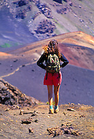 Hikers in Haleakala Crater. Island of Maui.