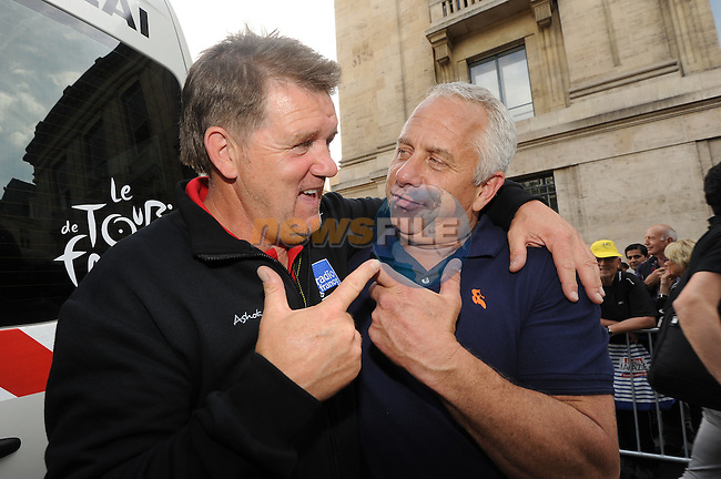 Former Tour cyclists Vincent Barteau and Greg LeMond chat at the end of Stage 7 of the 2014 Tour de France running 234.5km from Epernay to Nancy. 11th July 2014.<br /> Photo ASO/G.Demouveaux/www.newsfile.ie