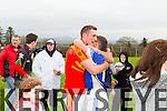 Munster Junior B Football Championship Final 2014, Kildimo Pallaskenry Vs Valentia Young Islanders held in Knockaderry Co. Limerick last Sunday. <br /> <br /> Kildimo Pallaskenry'd Peter Nash congratulating Valentia's Captain Brendan O'Sullivan.