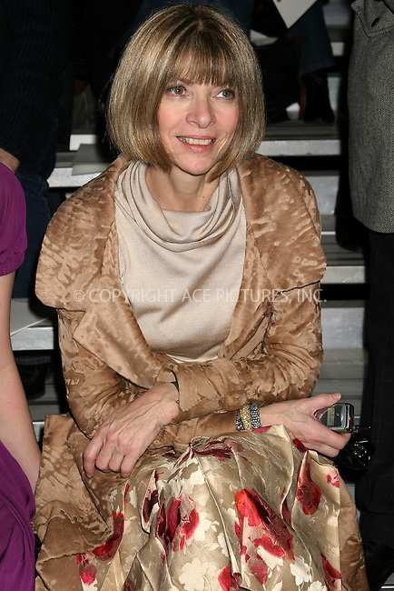 WWW.ACEPIXS.COM . . . . . ....NEW YORK, FEBRUARY 7, 2005....Anna Wintour at the Fall 2005 Marc Jacobs show.....Please byline: ACE009 - ACE PICTURES.. . . . . . ..Ace Pictures, Inc:  ..Philip Vaughan (646) 769-0430..e-mail: info@acepixs.com..web: http://www.acepixs.com