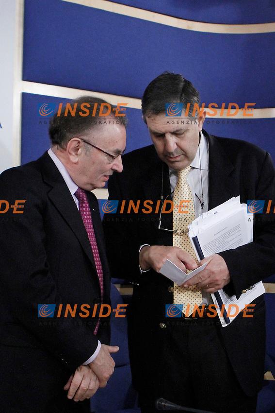 Il presidente delegato di Confindustria Giorgio Squinzi e Giampaolo Galli.Roma 19/04/2012 Presentazione della nuova Giunta di Confindustria.Foto Serena Cremaschi Insidefoto