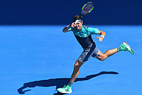 January 21, 2019: 16th seed Milos Raonic of Canada in action in the fourth round match against 4th seed Alexander Zverev of Germany on day eight of the 2019 Australian Open Grand Slam tennis tournament in Melbourne, Australia. Raonic won 61 61 76. Photo Sydney Low