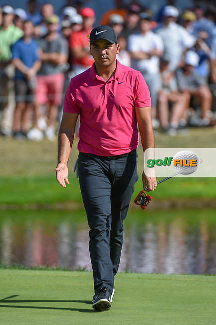 Jason Day (AUS) barely misses his putt on 16 during 3rd round of the World Golf Championships - Bridgestone Invitational, at the Firestone Country Club, Akron, Ohio. 8/4/2018.<br /> Picture: Golffile | Ken Murray<br /> <br /> <br /> All photo usage must carry mandatory copyright credit (© Golffile | Ken Murray)