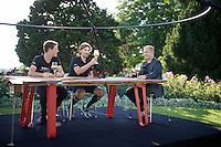 Fabian Cancellara & Jasper Stuyven of Team Trek-Segafredo are guests in the extremely popular Belgian TV-show 'Vive le Vélo' of tv-host Karl Vannieuwkerke (live show on location throughout the Tour) after stage 16 which finished in Berne, Switzerland