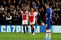 5th November 2019; Stamford Bridge, London, England; UEFA Champions League Football, Chelsea Football Club versus Ajax; Quincy Promes of Ajax celebrates as he scores with a close in header for 1-2 in the 20th minute - Editorial Use