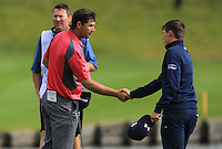 Padraig Harrington (IRL) and Matthew Fitzpatrick (ENG) finish on the 18th green during Round 2 of the 100th Open de France, played at Le Golf National, Guyancourt, Paris, France. 01/07/2016. <br /> Picture: Thos Caffrey | Golffile<br /> <br /> All photos usage must carry mandatory copyright credit   (&copy; Golffile | Thos Caffrey)