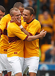 Nicky Law takes the plaudits after scoring for Motherwell as he is congratulated by Tom Hateley