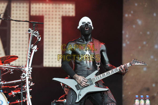 Limp Bizkit - Wes Borland.Performing at Sonisphere Festival, Knebworth House, England, UK..July 10th, 2011.stage concert live gig performance music half length black white guitar paint top.CAP/MAR.© Martin Harris/Capital Pictures.