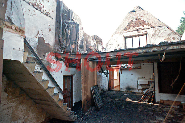 Remains of a thatched house fire. The entire house has been gutted..©shoutpictures.com..john@shoutpictures.com