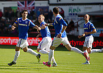 Carlos Bocanegra  celebrates the opening goal for Rangers