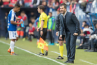 SADAR, PAMPLONA, SPAIN: The Football League, CA Osasuna vs Tenerife; Diego Martínez, Osasuna coach giving instructions during the League 123 game, on April 1, 2018