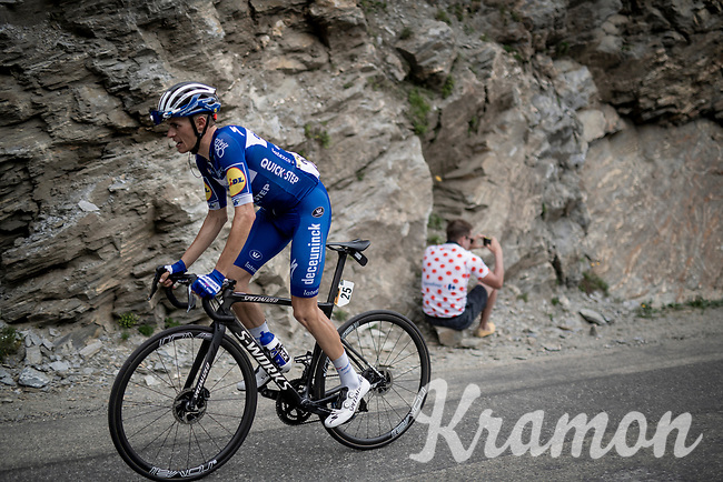 Enric Mas (ESP/Deceuninck - QuickStep) up the Col de l'Iseran (HC/2751m/13km@7.3%) <br /> > where the race was eventually stopped (at the top) because of landslides further up the road (after a severe hail storm in Tignes)<br /> <br /> Stage 19: Saint-Jean-de-Maurienne to Tignes(126km)<br /> 106th Tour de France 2019 (2.UWT)<br /> <br /> ©kramon