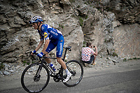 Enric Mas (ESP/Deceuninck - QuickStep) up the Col de l'Iseran (HC/2751m/13km@7.3%) <br /> > where the race was eventually stopped (at the top) because of landslides further up the road (after a severe hail storm in Tignes)<br /> <br /> Stage 19: Saint-Jean-de-Maurienne to Tignes (126km)<br /> 106th Tour de France 2019 (2.UWT)<br /> <br /> ©kramon