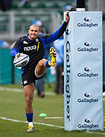 Jonathan Joseph of Bath Rugby during the pre-match warm-up. Gallagher Premiership match, between Bath Rugby and Harlequins on March 2, 2019 at the Recreation Ground in Bath, England. Photo by: Patrick Khachfe / Onside Images