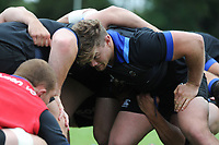 Nick Auterac of Bath Rugby prepares to scrummage against his opposite number. Bath Rugby pre-season training session on July 28, 2017 at Farleigh House in Bath, England. Photo by: Patrick Khachfe / Onside Images