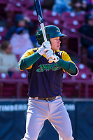 Beloit Snappers shortstop Nick Allen (2) waits on deck during a Midwest League game against the Wisconsin Timber Rattlers on April 7, 2018 at Fox Cities Stadium in Appleton, Wisconsin. Beloit defeated Wisconsin 10-1. (Brad Krause/Four Seam Images)