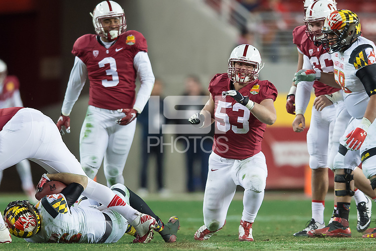 SANTA CLARA, CA - DECEMBER 30, 2014: Torsten Rotto celebrates during Stanford's game against Maryland in the 2014 Foster Farms Bowl.  The Cardinal defeated the Terrapins 45-21.
