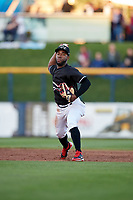 Quad Cities River Bandits shortstop Marcos Almonte (1) throws to first base during a game against the Lake County Captains on May 6, 2017 at Modern Woodmen Park in Davenport, Iowa.  Lake County defeated Quad Cities 13-3.  (Mike Janes/Four Seam Images)