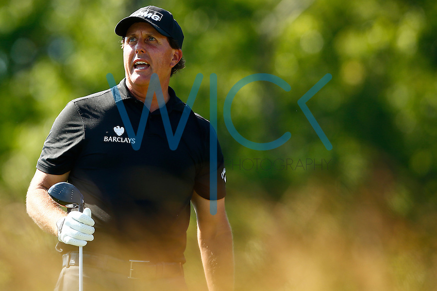 Phil Mickelson reacts after teeing off on the 4th hole during the 2016 U.S. Open in Oakmont, Pennsylvania on June 17, 2016. (Photo by Jared Wickerham / DKPS)